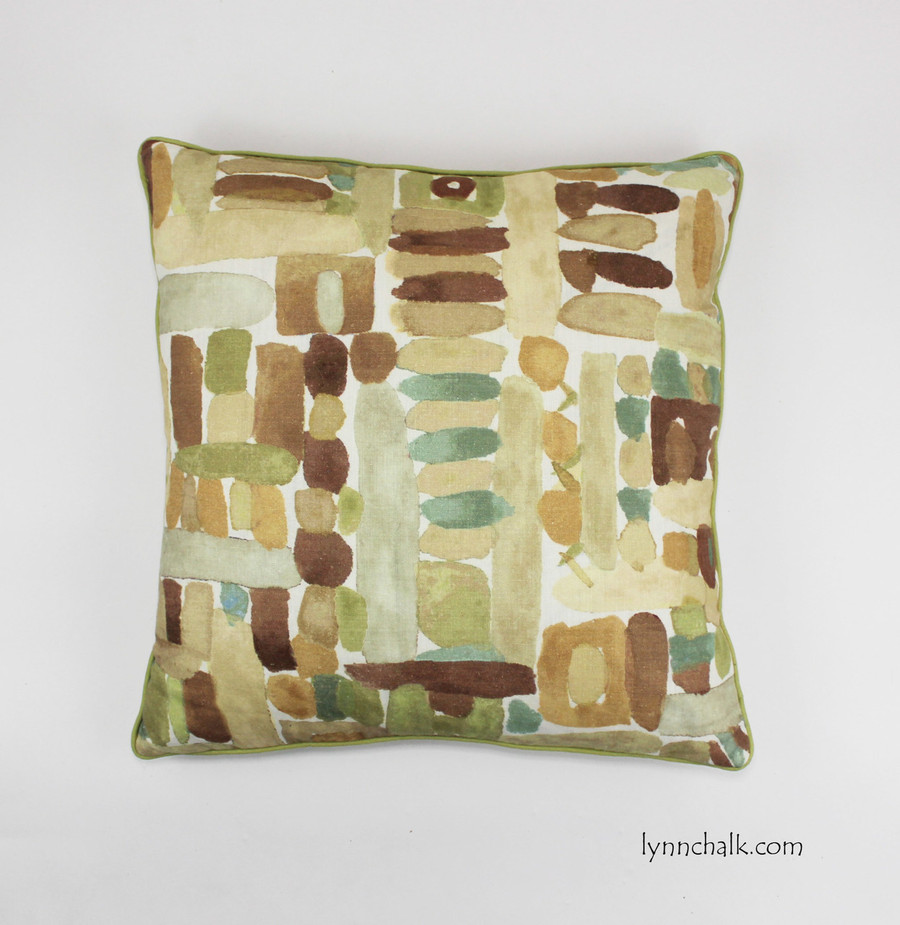 Pillow in Moriyama in Cognac with green welting (24 X 24)