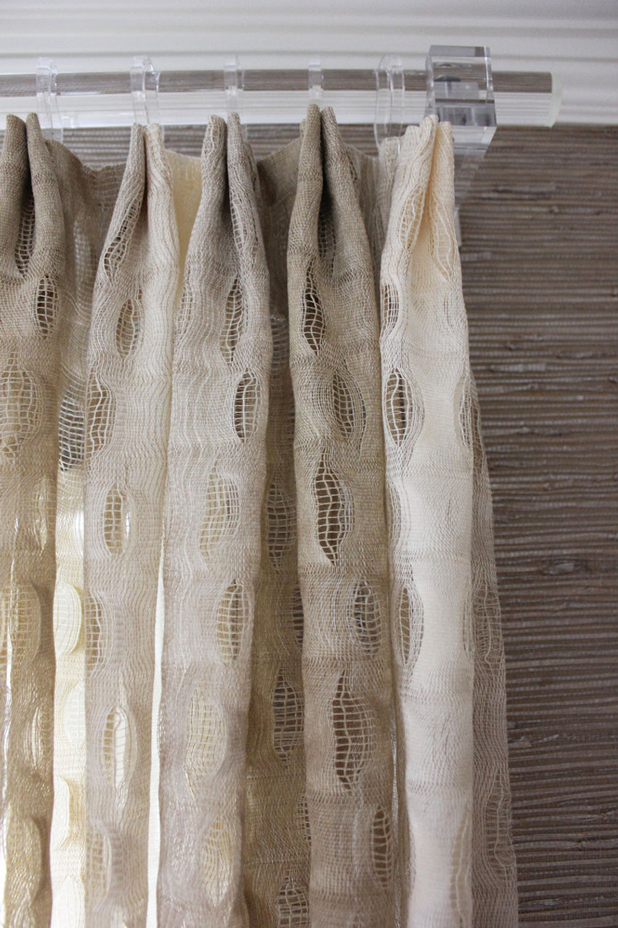 Acrylic curtain rod - Custom Drapes By Lynn Chalk In Isis Ombre In Creme Clear Acrylic Drapery Hardware Is