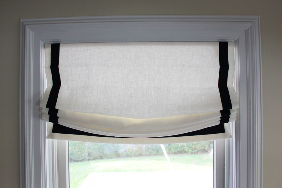 Custom Casual Shades by Lynn Chalk in Kravet Dublin Linen in Bleach with Samuel & Sons Grosgrain Ribbon Trim in Navy