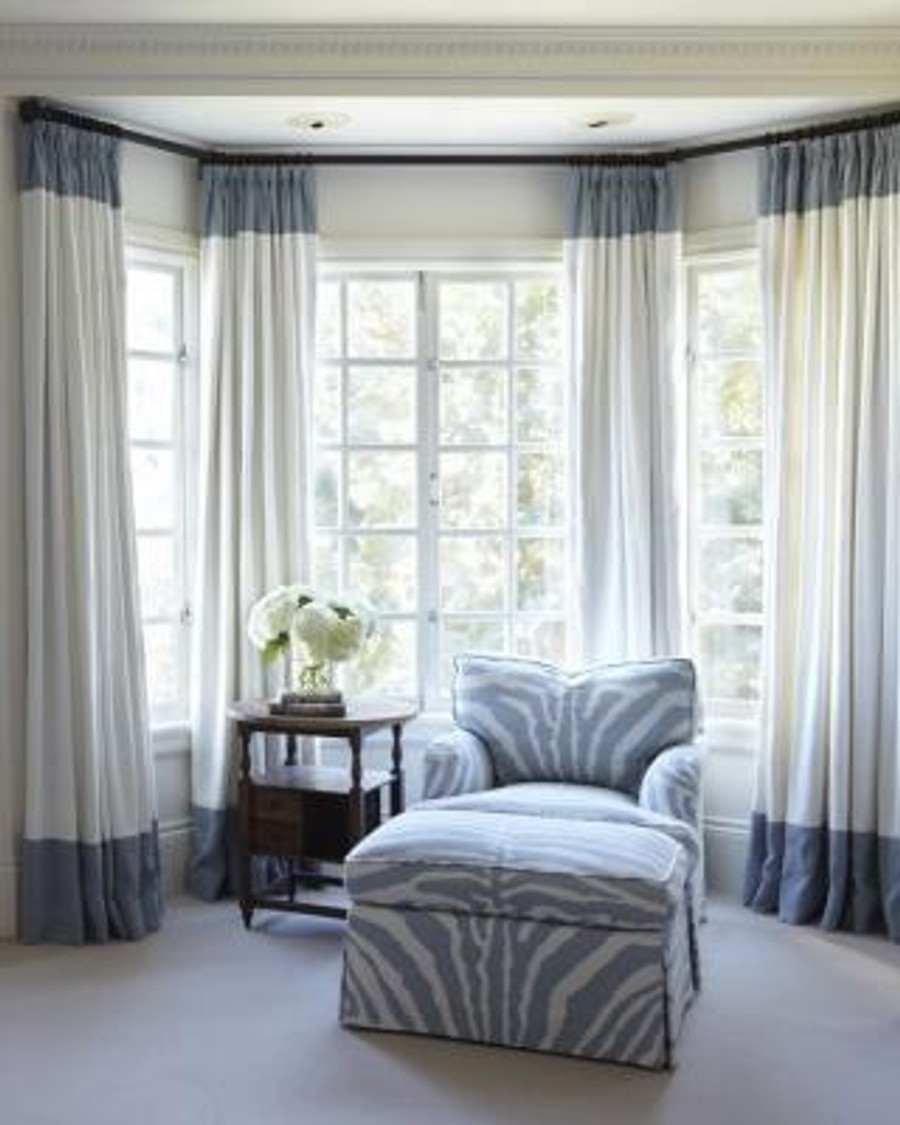 White Linen Drapes with Grey Top and Bottom Border