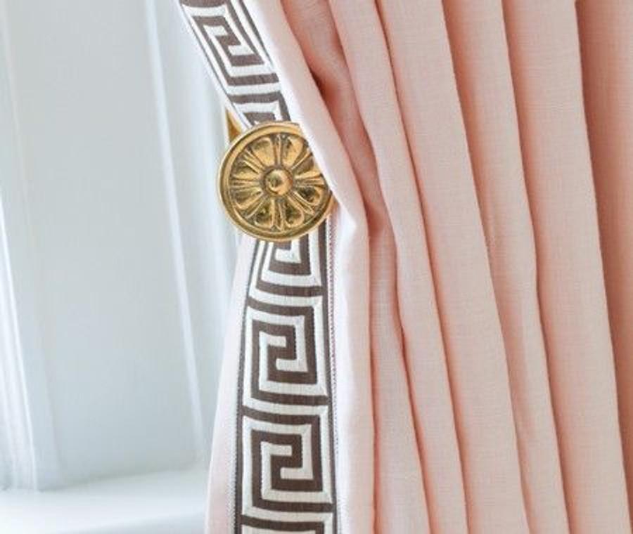 "Pale Pink Drapes with Samuel and Sons Aristotle 1 3/8"" Greek Key Trim (Designer Anne Hepfer)"