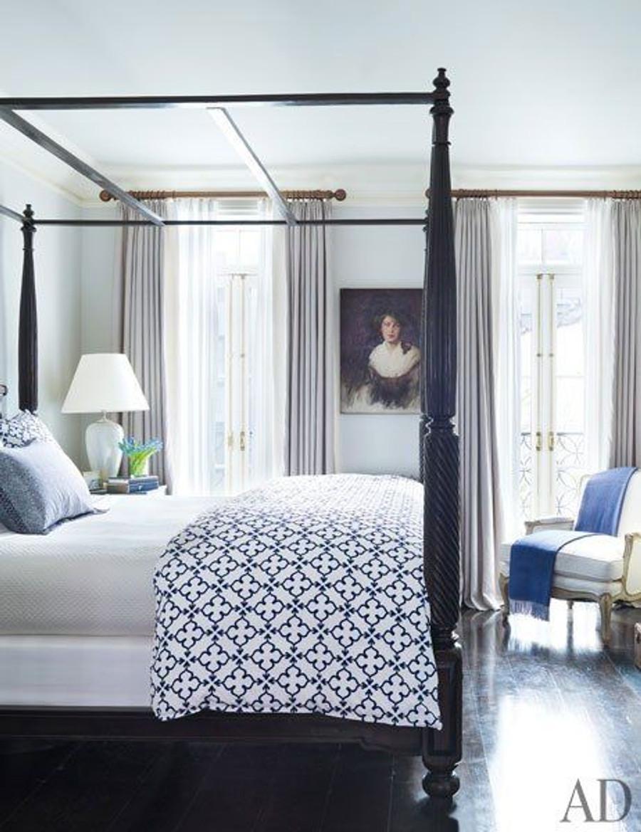 Grey Drapes (Brooke Shields Master Bedroom-Architectural Digest)