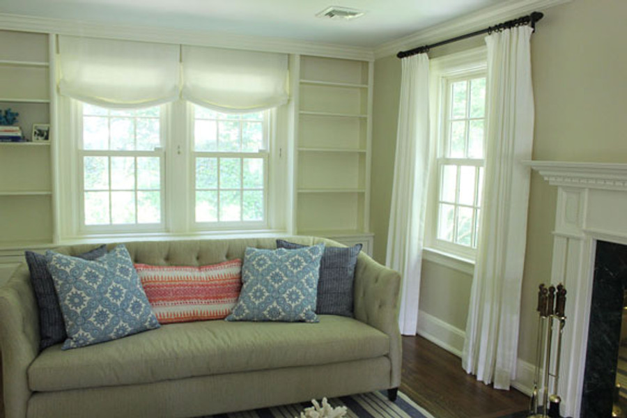 Custom Casual Shades and Drapes by Lynn Chalk in Kravet Kravet Dublin Linen in Bleach (Pillows in John Robshaw fabric)