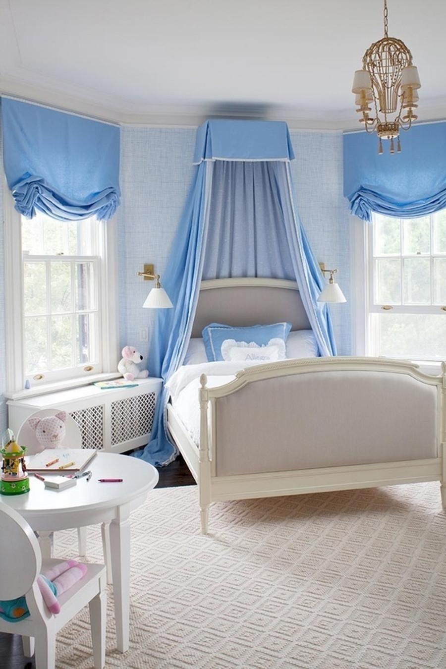 Bedroom Roman Shades in Blue (Anne Hepfer)