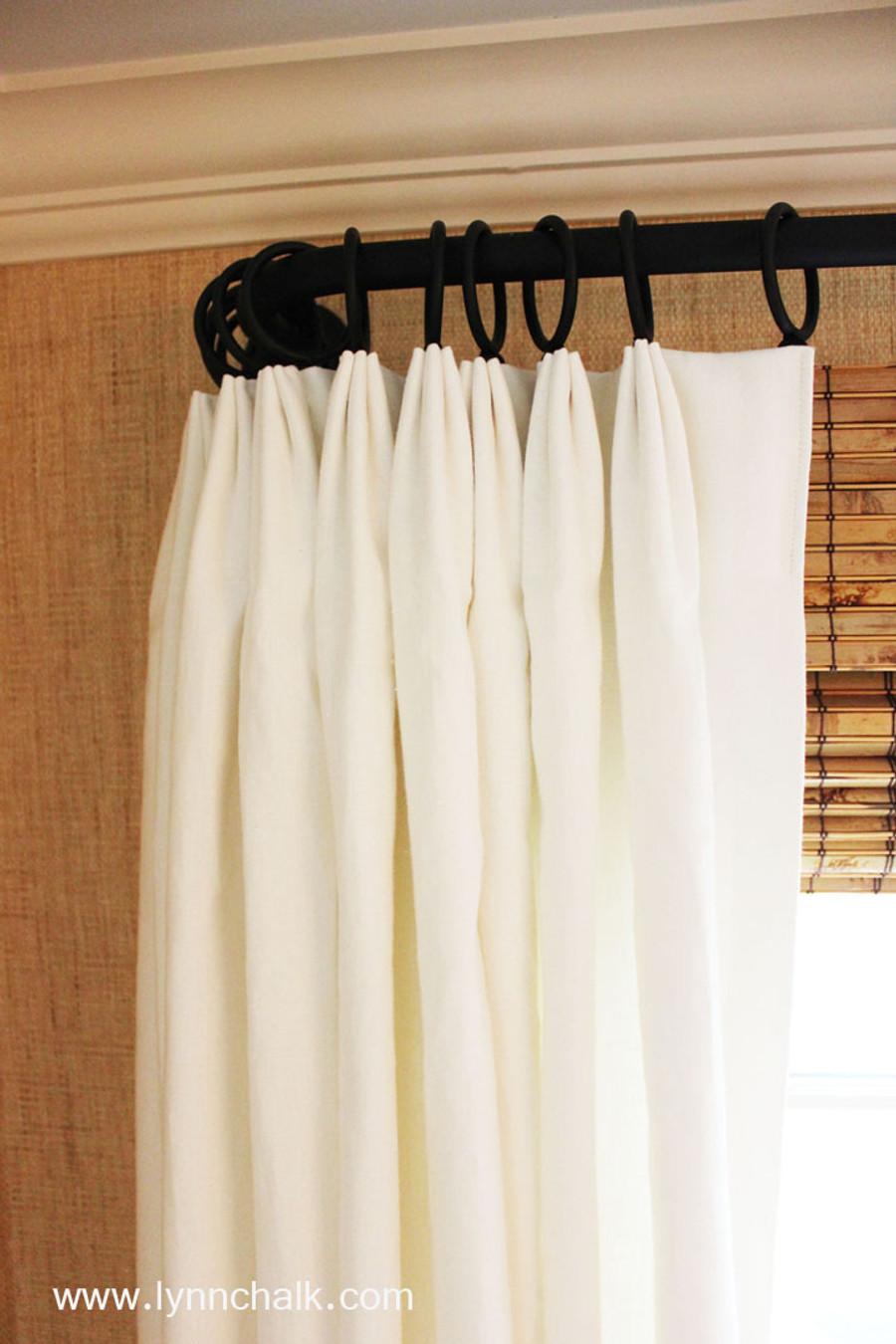 Custom Fan Pleated Drapes by Lynn Chalk in Kravet Dublin Linen in Bleach.