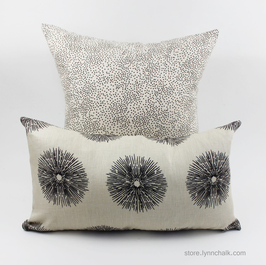 Lumbar pillow in Sea Urchin is shown with Kelly Wearstler Confetti in back.  Great combination!