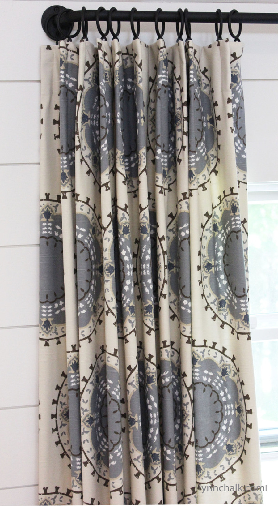Custom Drapes by Lynn Chalk in Robert Allen Dwell Studio Medallion Band in Mineral.  French Poles and Rings are by Helser Brothers in Coal.