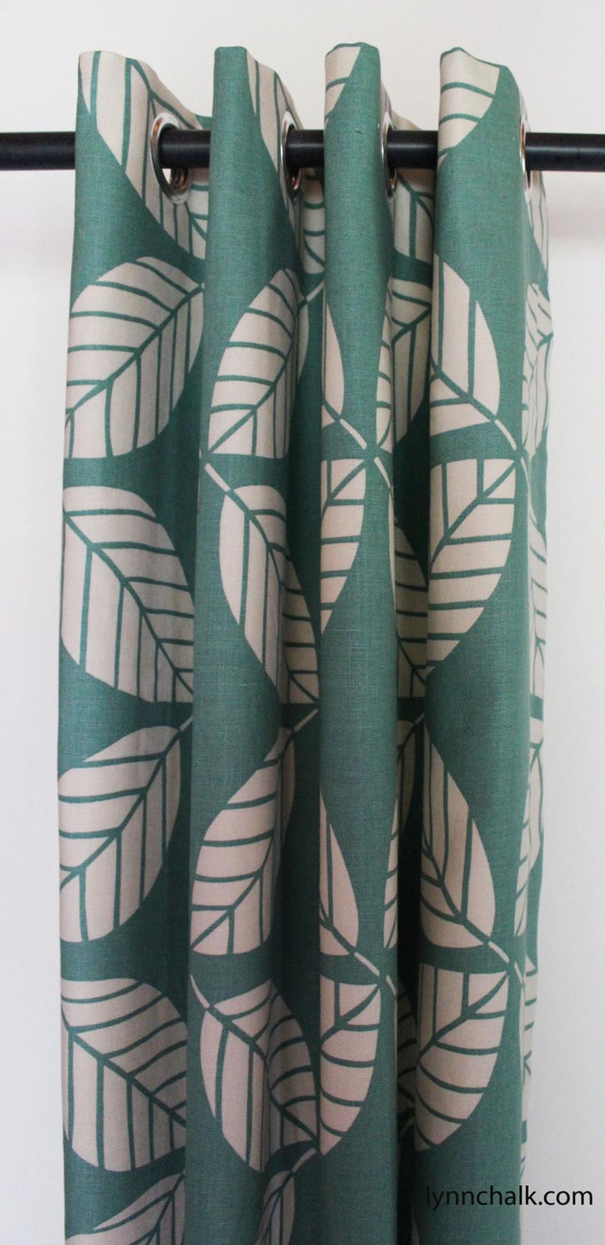 Custom Grommet Drapes by Lynn Chalk in Duralee 42190-23 Peacock
