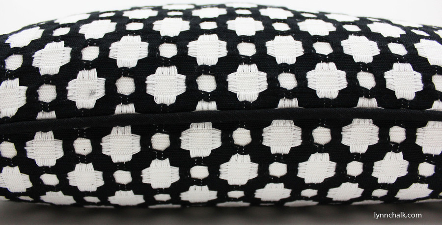Celerie Kemble Betwixt Pillows in Black and White for Schumacher with Black Welting (Comes in 16 Colors)