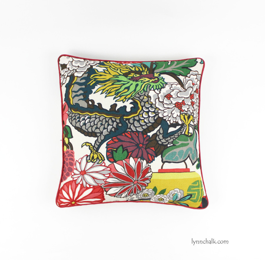 Chiang Mai Dragon in Alabaster with Dublin Linen in Barn Red Welting