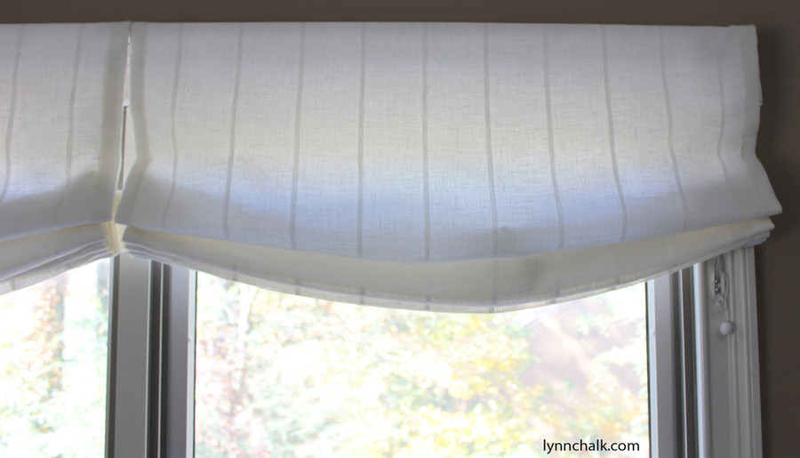 Custom Casual Roman Shades by Lynn Chalk in Kravet 3586-1116 Sheer Linen Stripe
