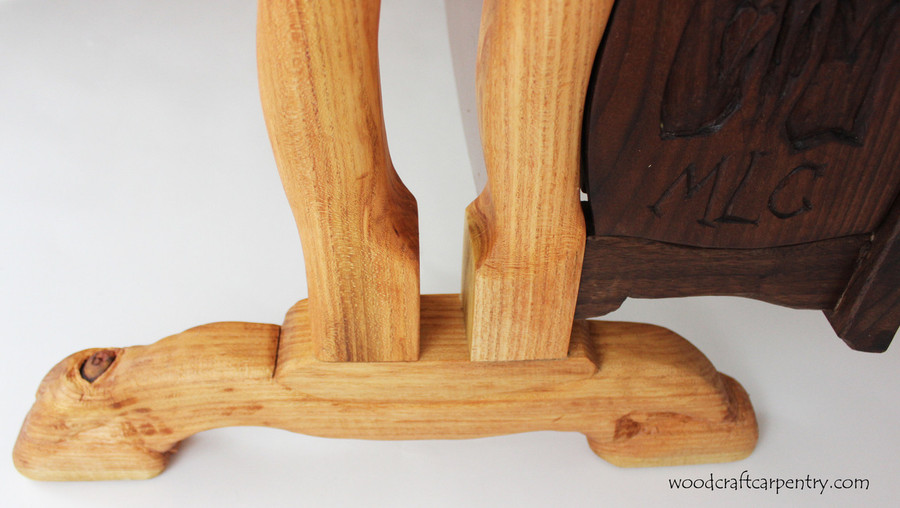 Legs are Hand Carved Locust wood.