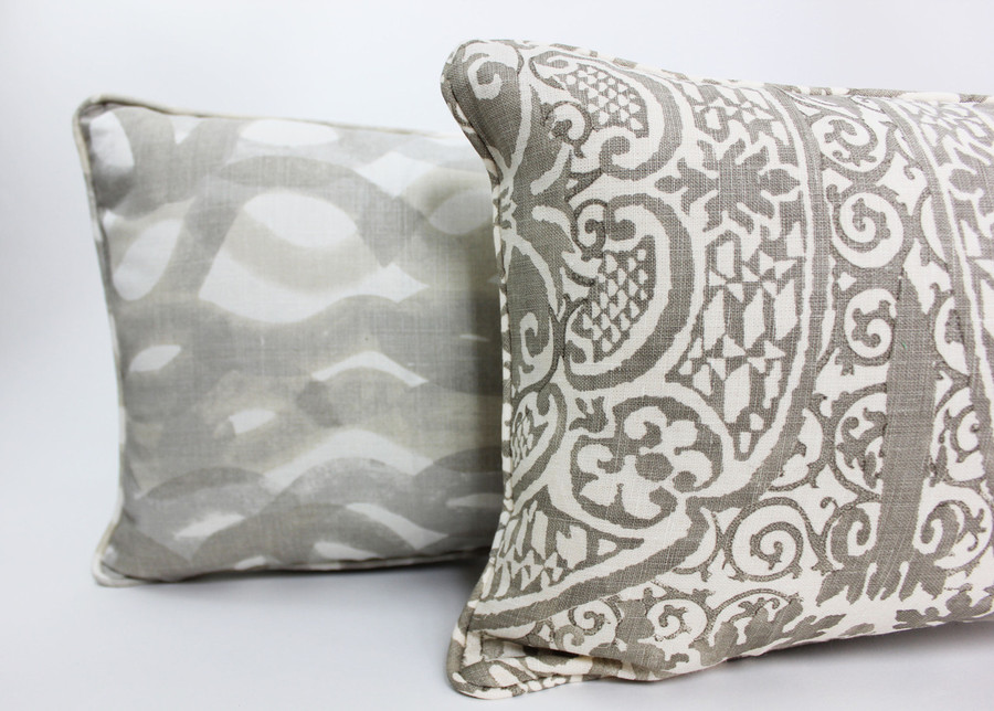 Christopher Farr Fathom Lumbar Pillow is shown with Quadrille Alan Campbell Veneto in Gray Lumbar Pillow