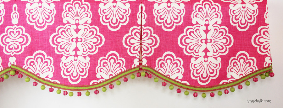 Scallop Pleated Valance in Lilly Pulitzer Shell We Hotty Pink with Lilly Pulitzer Ball Fringe (TL10106 734)