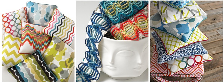 Assorted Pillows in Jonathan Adler Utopia Collection
