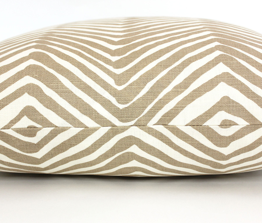 """ON SALE Quadrille Alan Campbell Zig Zag Pillow in Taupe on Tint (14"""" X 22"""")"""