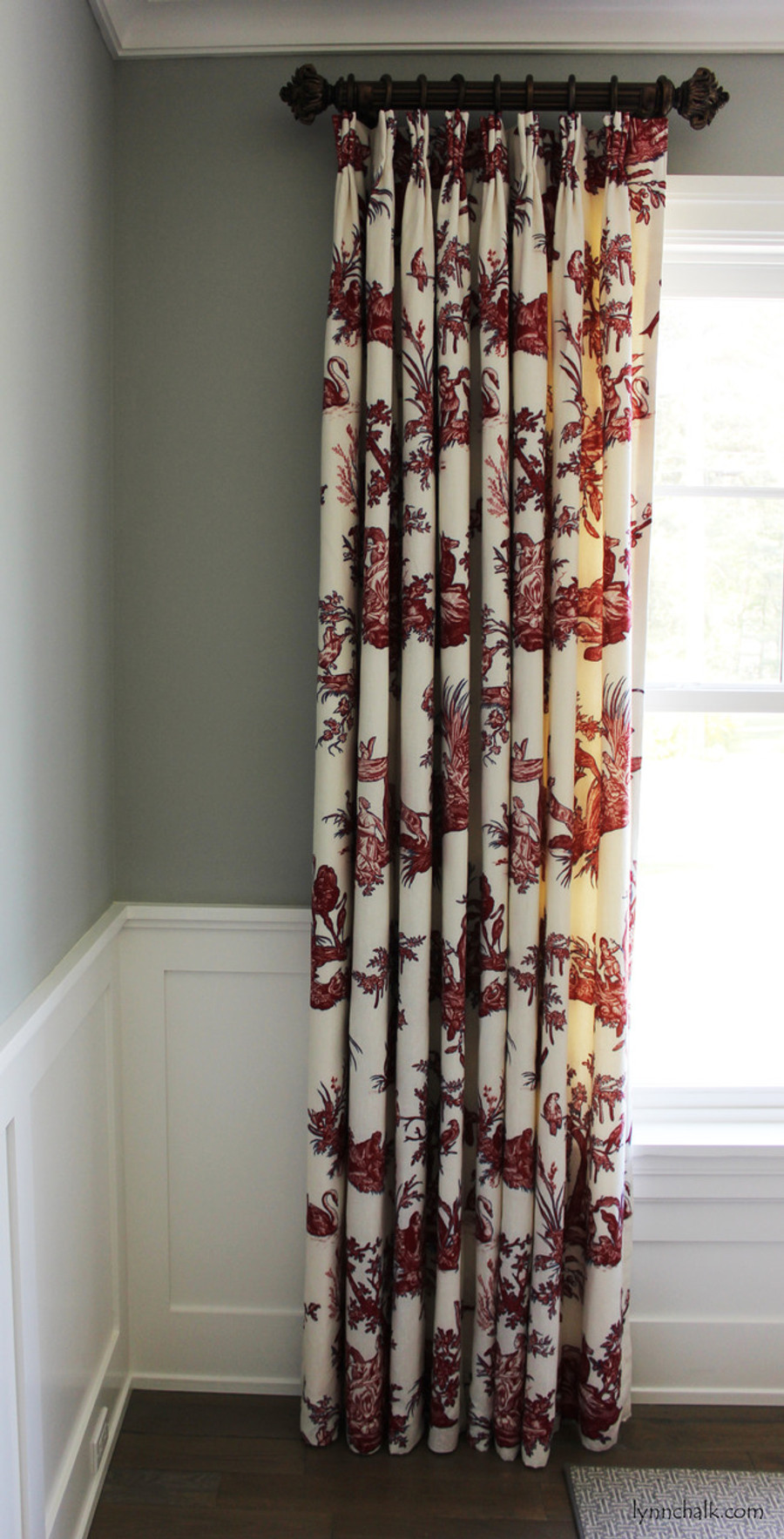 """Custom Double Width Drapes by Lynn Chalk in Continenti Rouge/Prussian.  Paris Texas Hardware-Moonlight Finish; 2"""" Diameter Fluted Rods - 24"""" Long with Imogene Finials."""