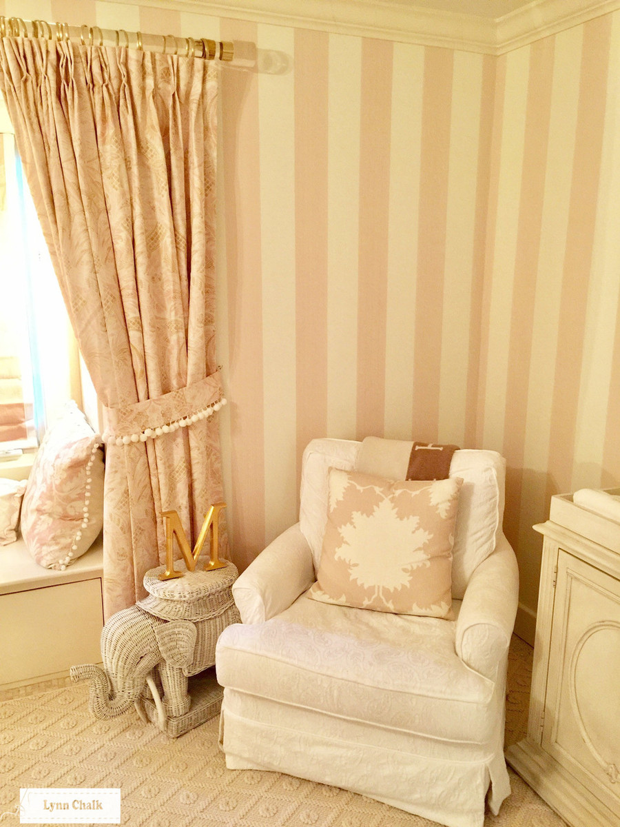 Nursery with Custom Drapes in Cap Ferrat in Blush.  Pillow in Garden of Persia in Blush Conch.