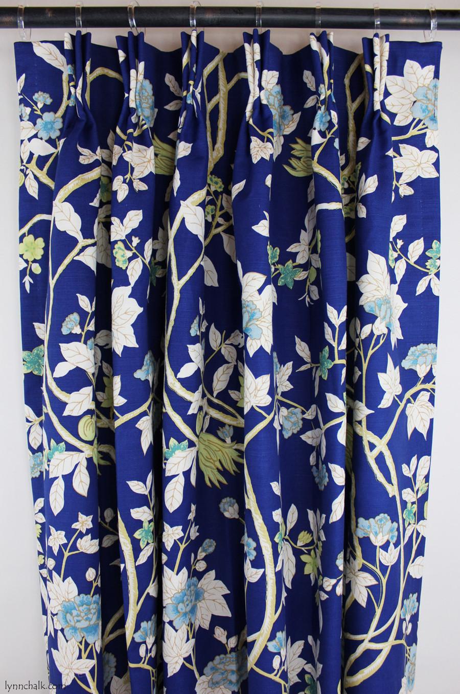 Custom Drapes by Lynn Chalk in Quadrille Happy Garden New Navy on Tint.