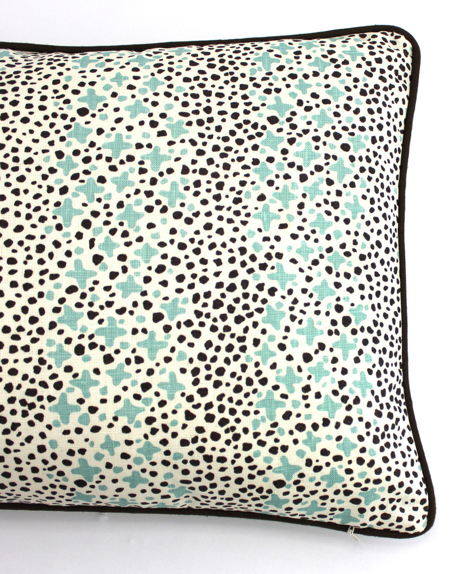 ON SALE Quadrille Alan Campbell Jacks II Green Brown Dots on Tint Pillows (14 X 24-Only 2 Left)