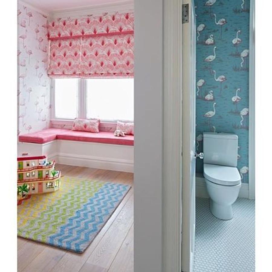 Christopher Farr Brisa Roman Shade and Pillow.  Cole & Son Flamingo Wallpaper.
