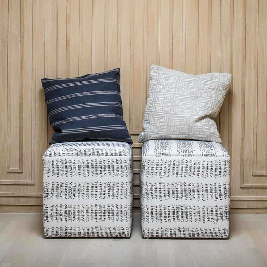 Ottoman in Balboa in Smoke.  Pillows in Ojai in Graphite and Miramar in Pyrite