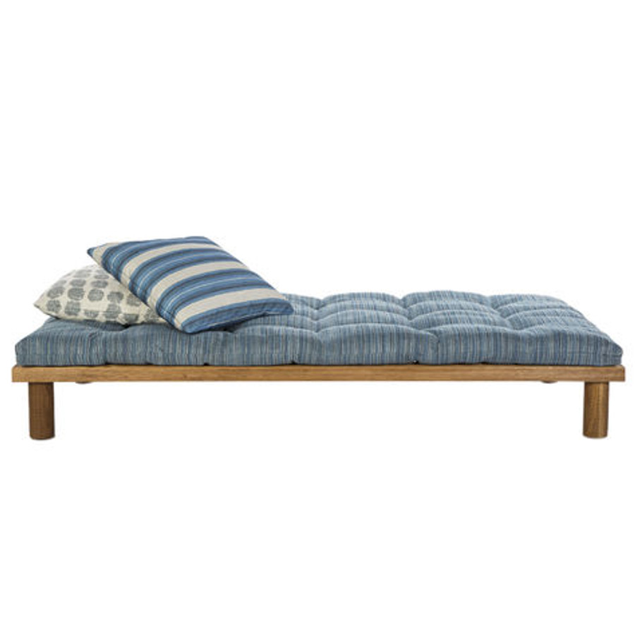 Cushion in Dune Ocean.  Top Pillow in Shoreline Pacific.  Bottom Pillow in Soltice Lake/Ivory