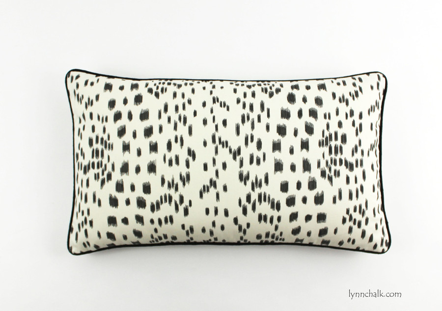 Les Touches Pillow in Black with contrasting black welting (Custom Size 14 X 24)