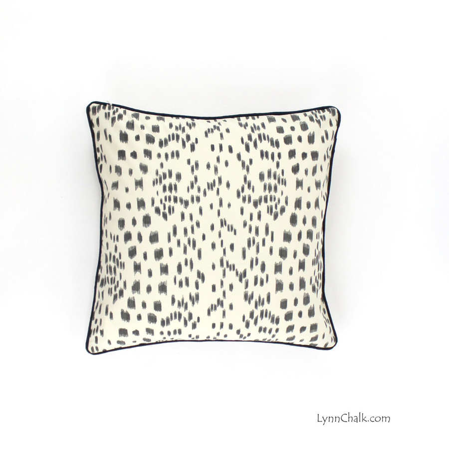 Brunschwig & Fils/Lee Jofa Les Touches Pillows in Black with Contrasting Black Welting