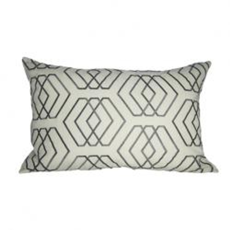 Lumbar Pillow in David Hicks Kyoto Shrine Ecru Grey
