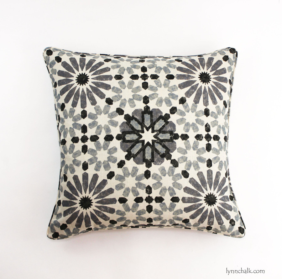 22 X 22 Pillow in Martyn Lawrence Bullard Marrakesh in Baltic with self welting