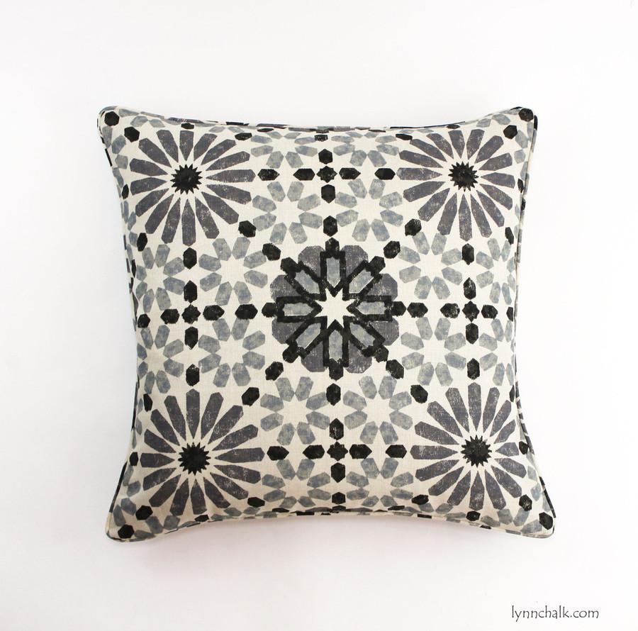 22 X 22 Pillow in Martyn Lawrence Bullard Marrakesh in Baltic with self welting
