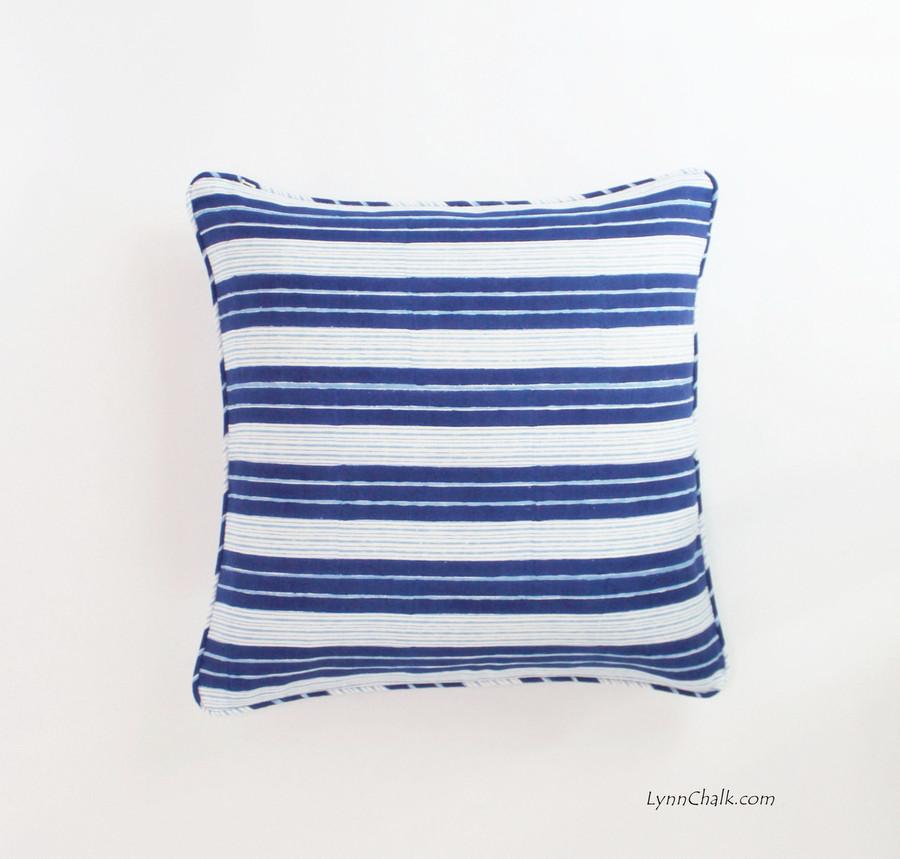 Pillow in John Robshaw Vintage Stripe Indigo with Self Welting (18 X 18)