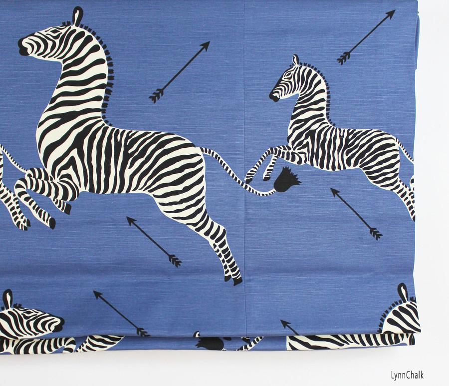 Scalamandre Zebras Roman Shades (Shown in Denim-comes in several colors)