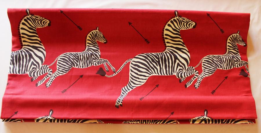 Roman Shade in Scalamandre Zebras in Masai Red