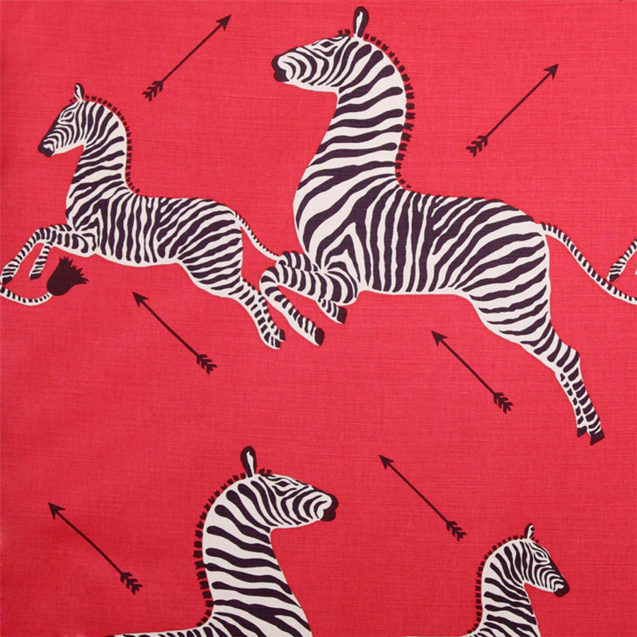 Scalamandre Zebras in Masai Red Comes in Both Cotton/Linen and Indoor/Outdoor Fabric