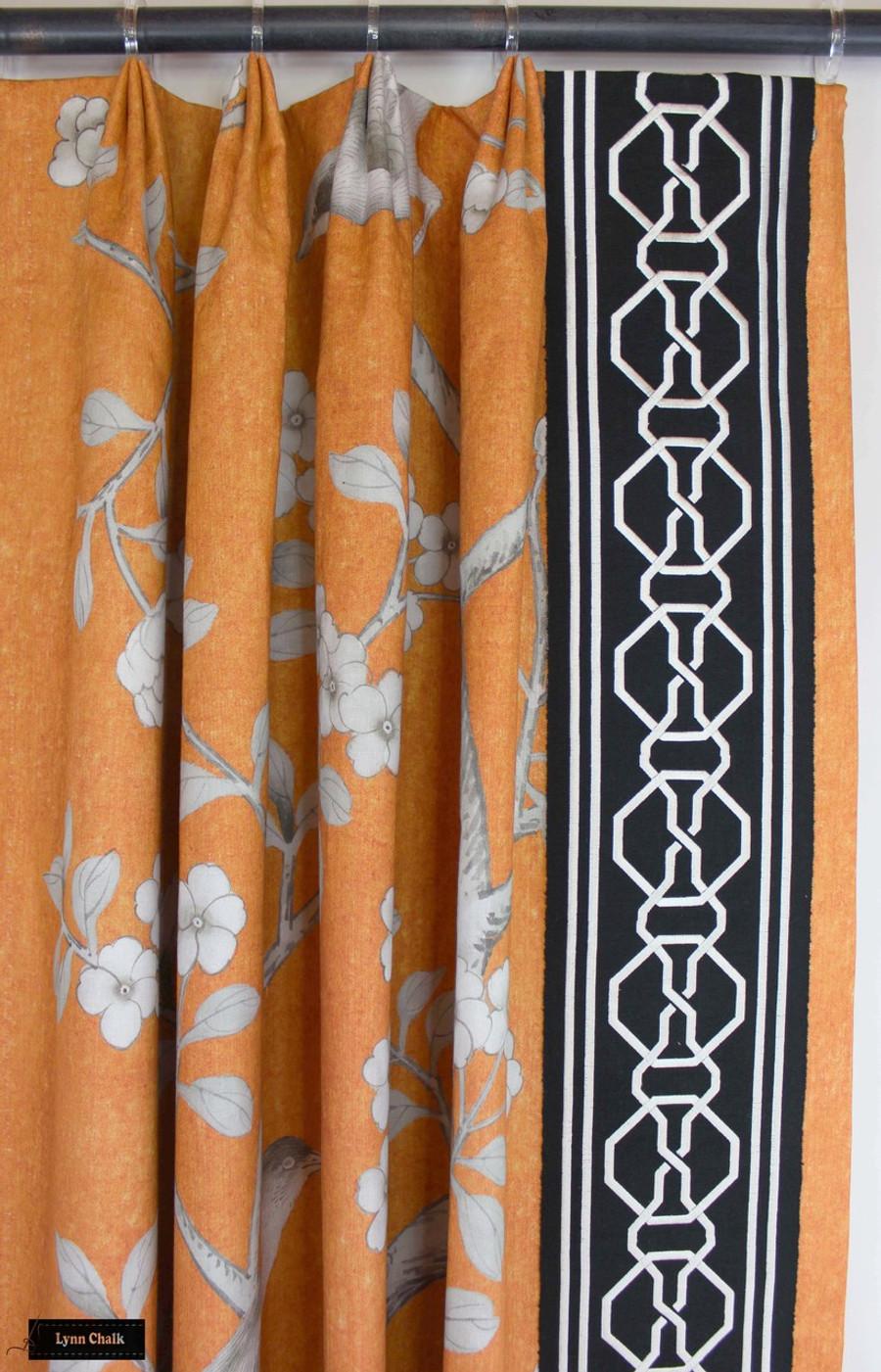 Mary McDonald Chinois Palais in Tangerine with Malmaison Trim in Noir/Swan (Custom Made by Lynn Chalk)