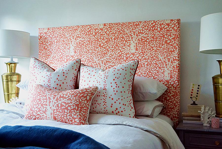 Quadrille Arbre De Matisse Reverse Bedroom Headboard and Pillows in Rio (Brian Paquette)