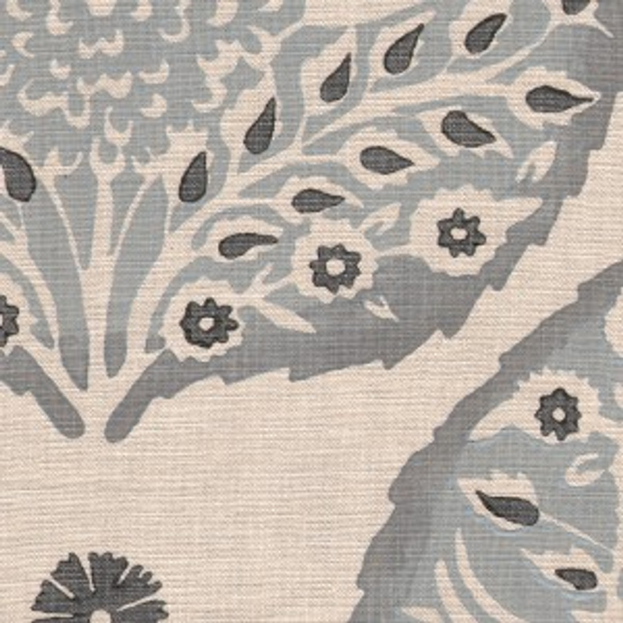 Lotus in Light Cadet on Natural Linen