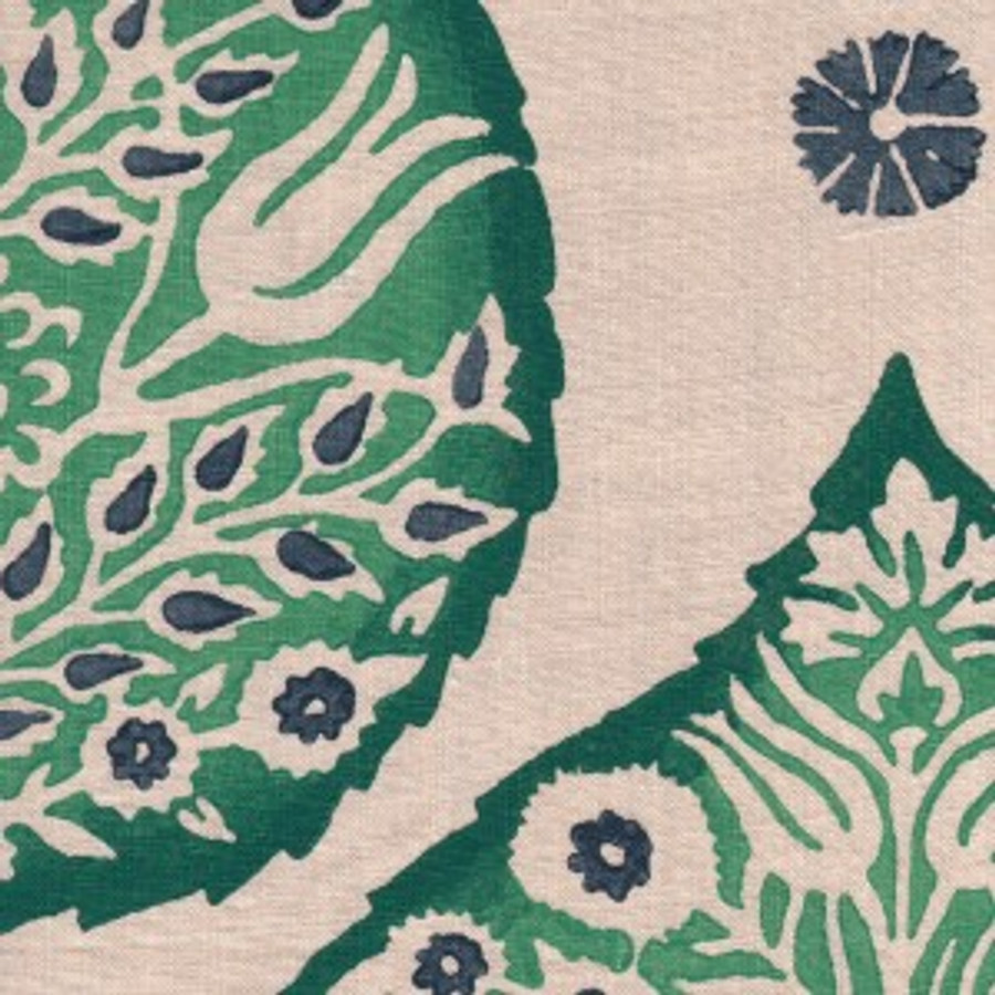 Lotus in Emerald on Natural Linen