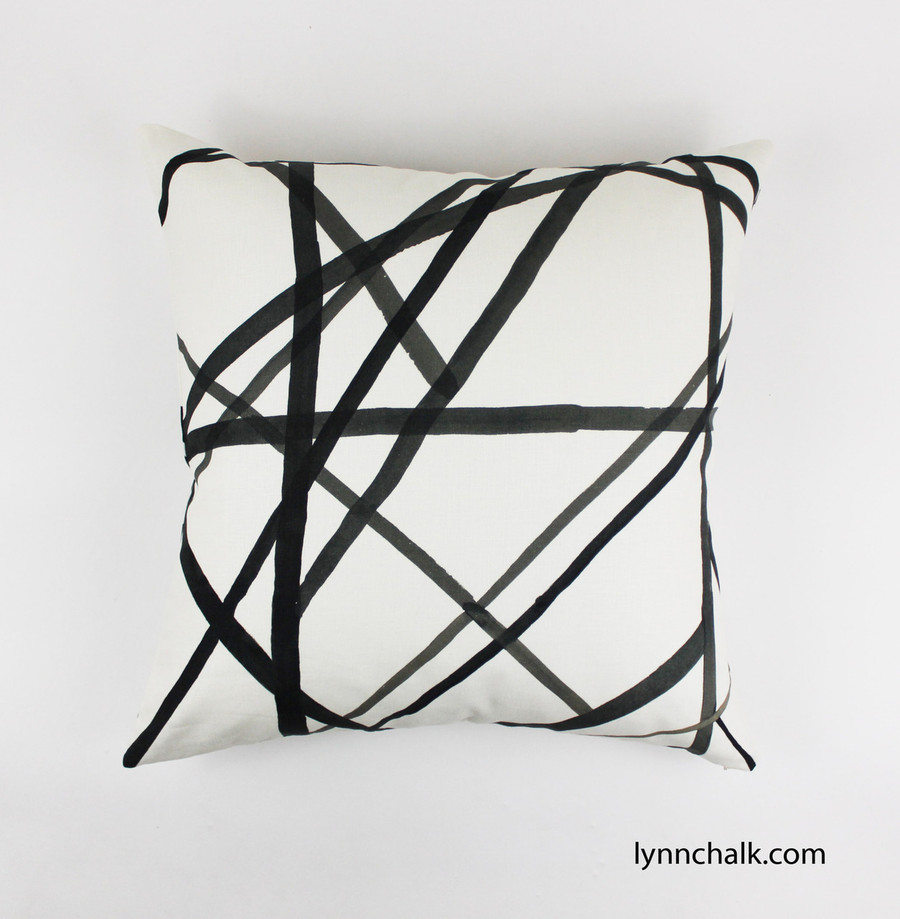 Custom Pillows in Kelly Wearstler Channels in Ebony/Ivory.