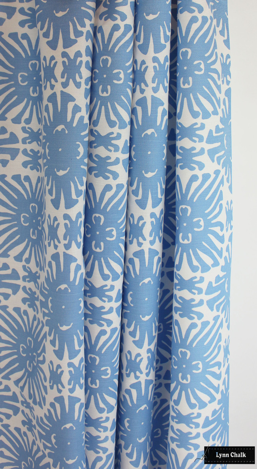 Quadrille Sigourney Small Scale French Blue on White Drapes
