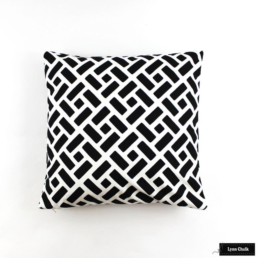 Pillow in Quadrille Edo Grande Black on White (White background is a custom order)
