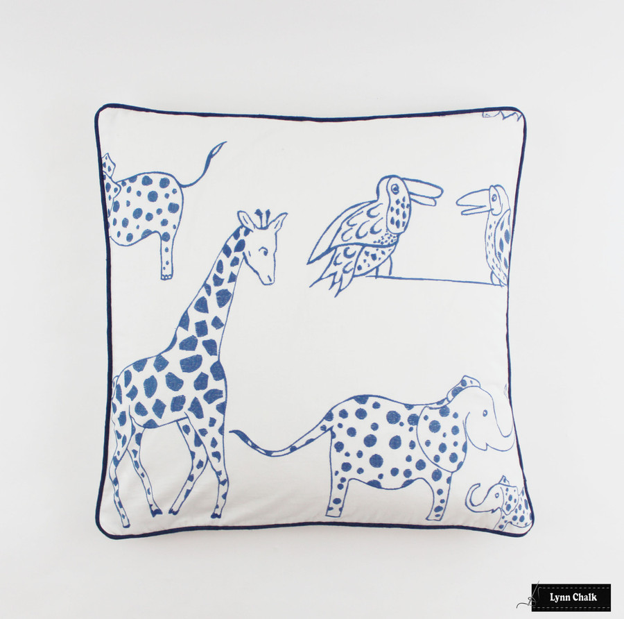 ON SALE Lulu DK for Schumacher Jungle Jubilee Pillows in Blueberry with Navy Welting (24 X 24) Only 2 Pillows Remaining at This Sale Price