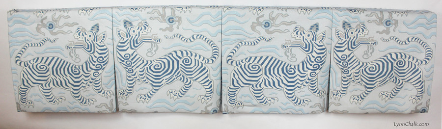 "Box Pleated Valance in Tibet Pale Blue.  Valance was 71"".  Each Section was 17.75"" Wide and 17"" Long to feature one Tiger."