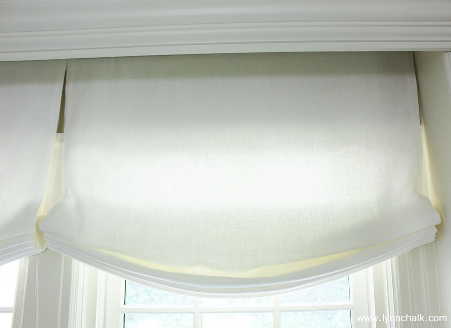 Casual Roman Shades in Kravet Linen - Dublin in Bleach by Lynn Chalk.
