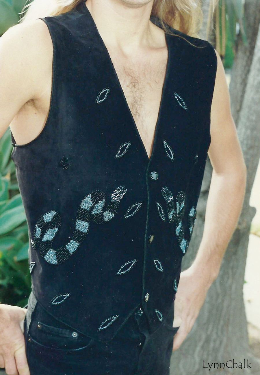Black Suede Serpent and Spider Hand Beaded Vest with Black Glass Buttons