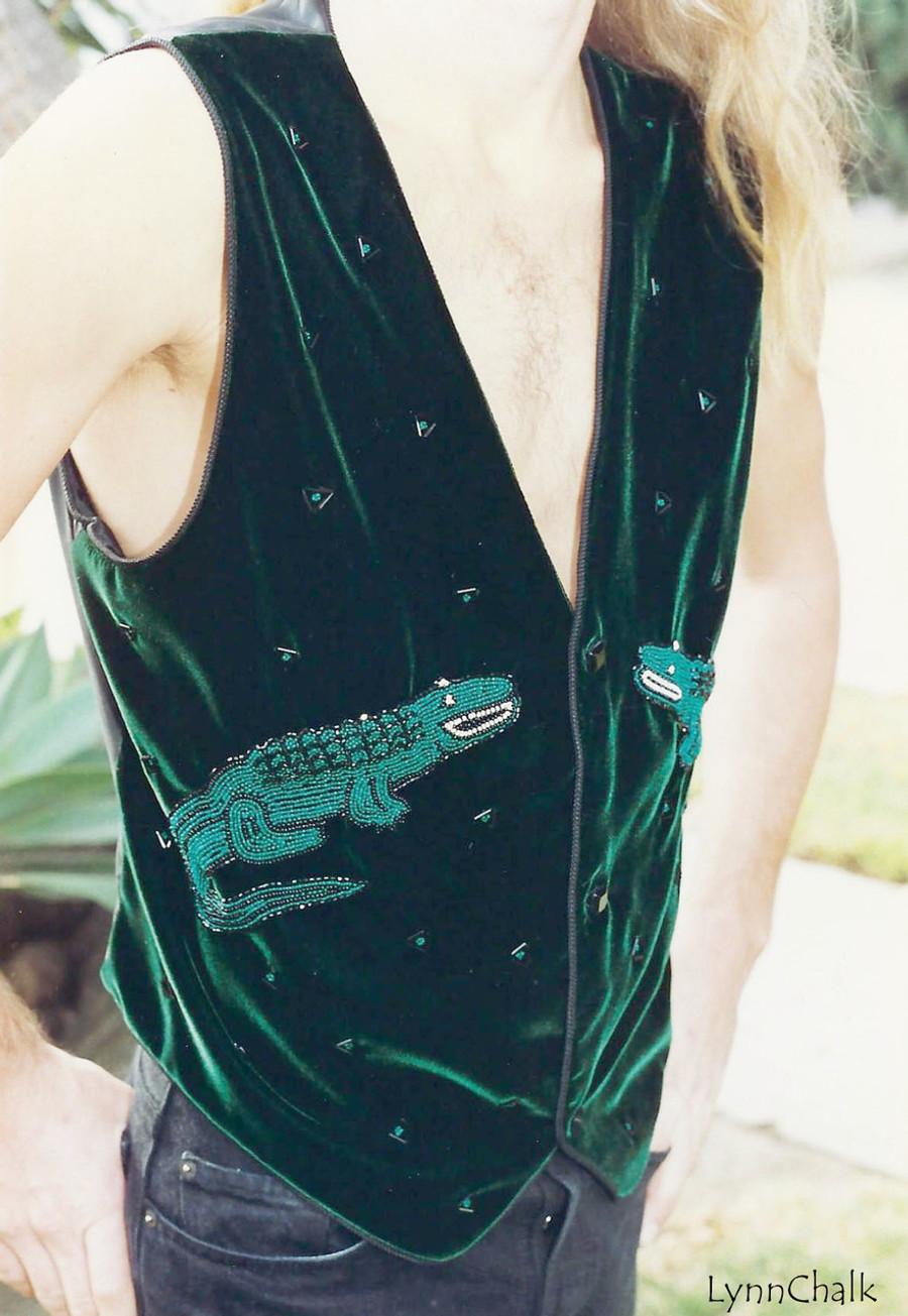 Green Velvet Alligator Hand Beaded Vest with Black Glass Buttons