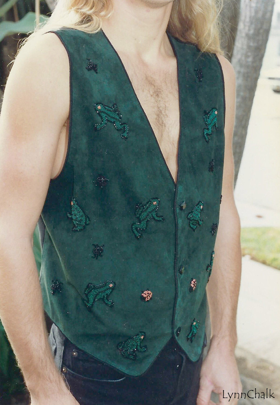 Green Suede Hand Beaded Vest with Frogs with Black Glass Buttons