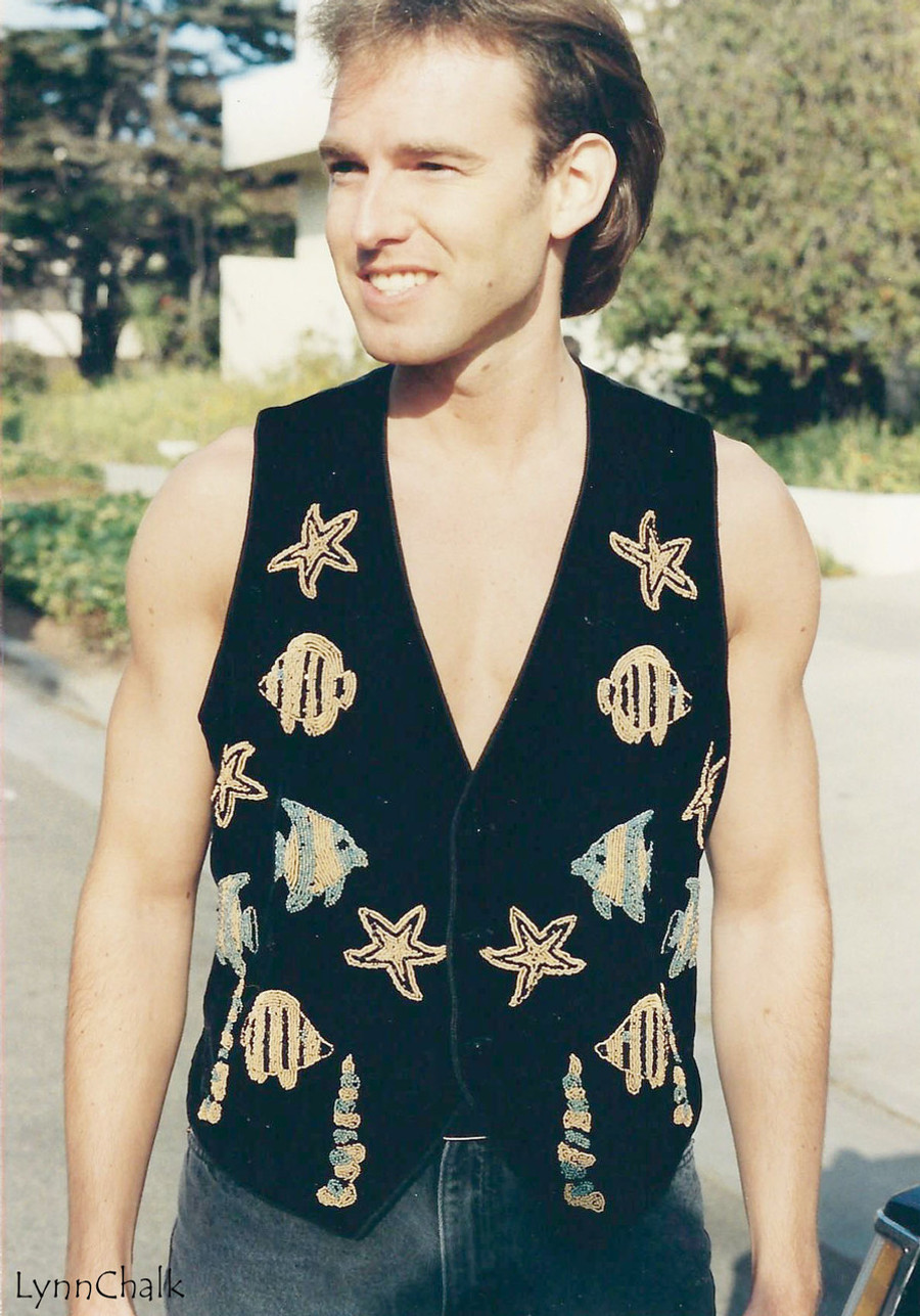 Black Velvet Hand Beaded Vest with Fish and Starfish and Black Glass Buttons